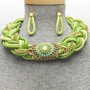 Green Faux Leather Braided Pendant Necklace Set